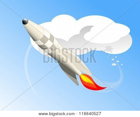 Rocket flying in the clouds