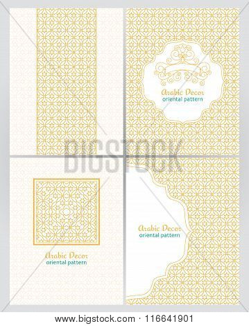 Vintage Ornate Cards In Oriental Style. Golden Traditional Arabic Decor.
