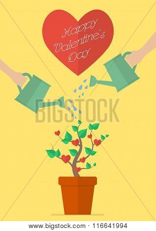 Couple Watering Love Plant