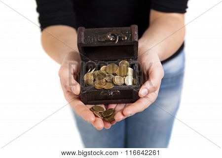 Woman Hands Holding Old Antique Treasure Chest With Gold Coins