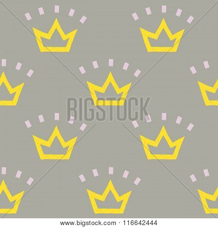 vector pattern of yellow crowns on gray background