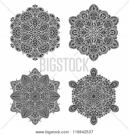 Set Of 4 Abstract Black Vector Round Lace Designs - Mandalas, Decorative Elements.