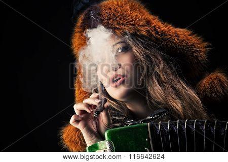 attractive woman in fur hat in cigarette smoke