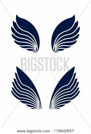 Two Pair Of Decorative Vector Wings Isolated On White.