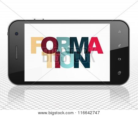 Studying concept: Smartphone with Formation on  display