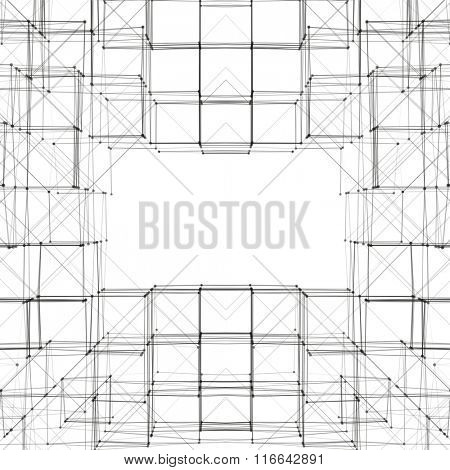 Abstract 3D Cube Frame Vector Background   Creative Line Art