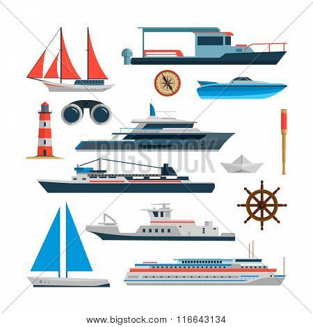 Sea vector set of ships, boats and yacht isolated on white background. Marine transport design eleme