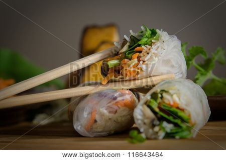 Vegetarian vietnamese spring rolls.
