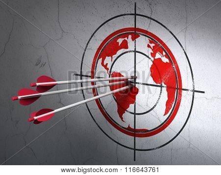Learning concept: arrows in Globe target on wall background