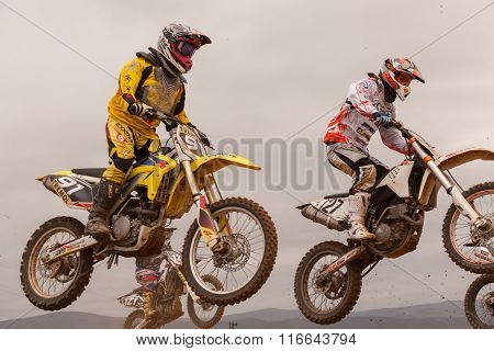Pomorie, Bulgaria - March 24: 2013 - Motorbikes In Flight, Bike Jump At The