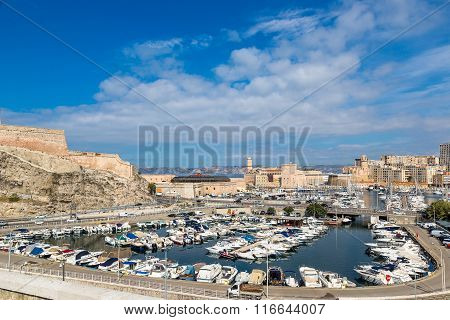 Saint Jean Castle  And The Vieux Port In Marseille