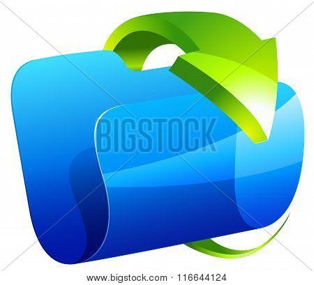 Blue folder icon with green arrow
