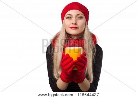 Beautiful Girl In Red Hat With Cup Of Hot Drink In Her Hands