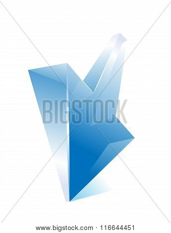 Blue arrow. Shiny glass web icon.