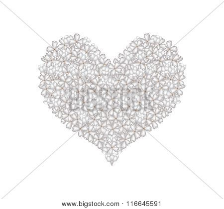 White Lilac or Syringa Vulgaris in A Heart Shape