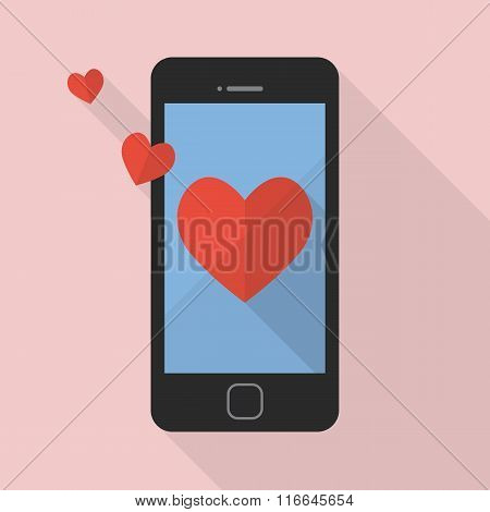 Heart Icon On Smart Phone