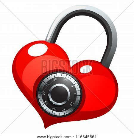 Red heart with shiny metal round combination lock