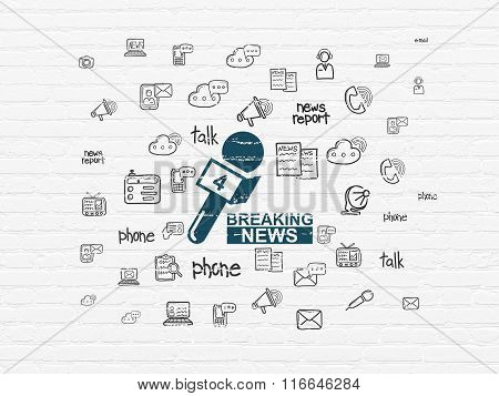 News concept: Breaking News And Microphone on wall background