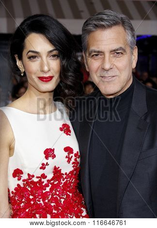 Amal Clooney and George Clooney at the World premiere of 'Hail, Caesar!' held at the Regency Village Theatre in Westwood, USA on February 1, 2016.