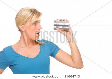 Woman With Tin Phone