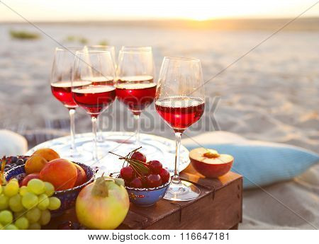 Glasses Of The Red Wine On The Sunset