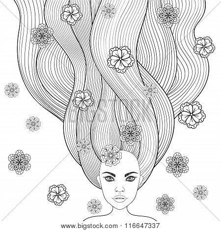 Hand drawn girl like forest fairy with long hair and flowers. Co