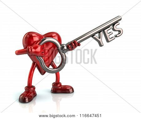 Cartoon Heart Character Holding Silver Key With Word Yes