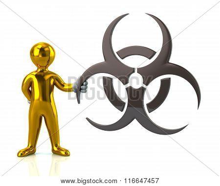 Golden Man Character Holding Biohazard Symbol