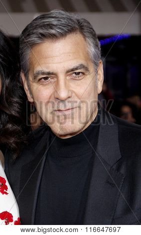 George Clooney at the World premiere of 'Hail, Caesar!' held at the Regency Village Theatre in Westwood, USA on February 1, 2016.