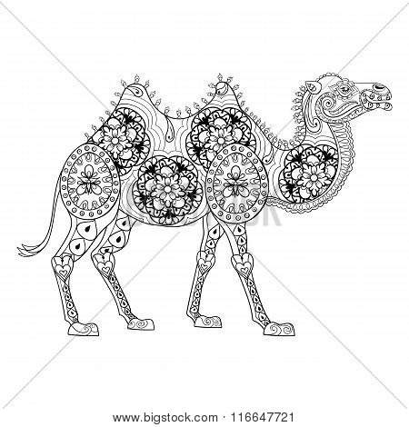Zentangle Camel totem for adult anti stress Coloring Page for ar