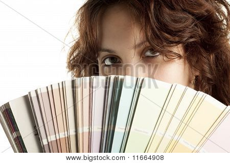Woman with Color Swatch