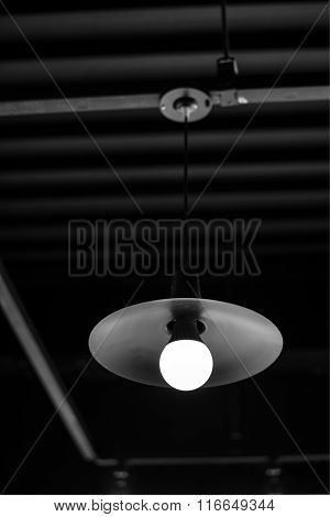 Light Bulb Turned On Over Black Background.