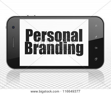 Marketing concept: Smartphone with Personal Branding on display