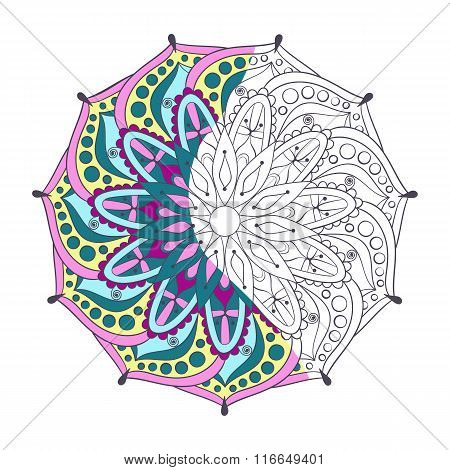 Zentangle stylized elegant color Indian Mandala for coloring pag
