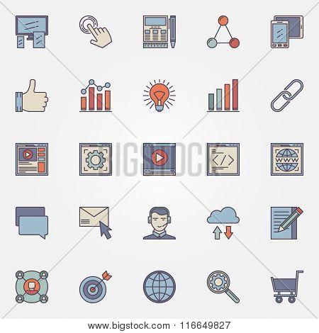 SEO optimization icons set