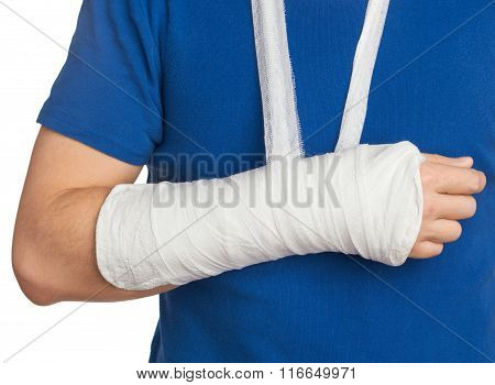 Men With Plastered Hand On White Background