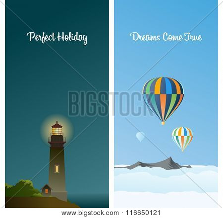 Two vertical cards - Lighthouse on the shore at night. Ballooning above the mountains