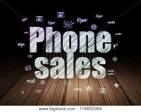 Marketing concept: Phone Sales in grunge dark room