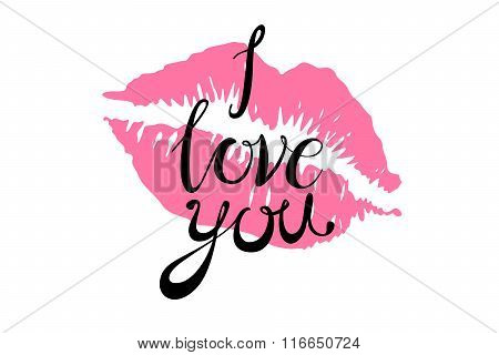 I Love You Kiss Red Lips Vector Pink