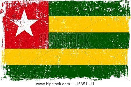 Togo vector grunge flag isolated on white background.
