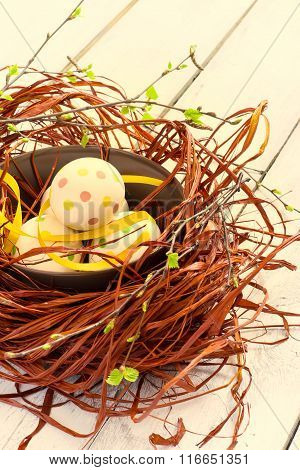 Composition With Easter Eggs In Nest, On Boards Background, Tint