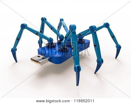 Blue Robot Usb Flash Spider