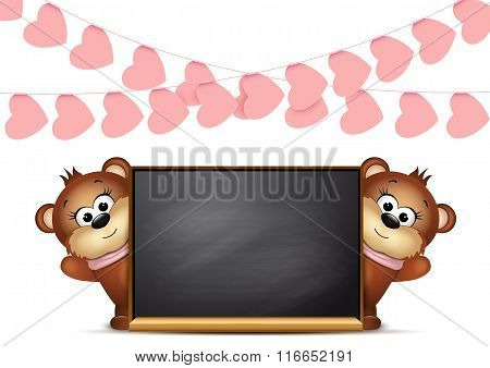 Postcard design template. Two teddy bears.