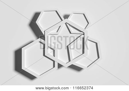 Five White Hexagons Crossed Each Other