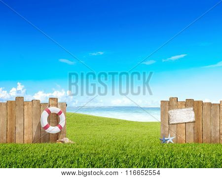 Grass Yard Buoy Fence Sea Ocean Sky Shell Field Concept