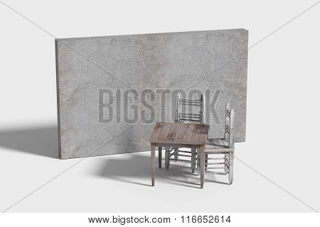 Wooden Furniture Standing Near With Concrete Wall