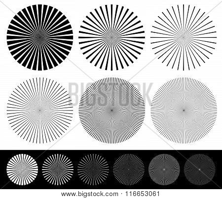 Starburst, Converging Lines Element Set. Monochrome Abstract Vector Shapes.