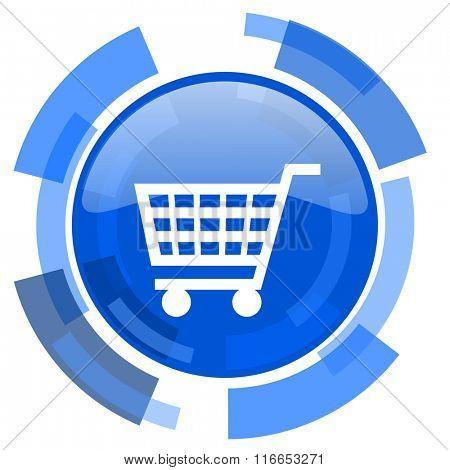 cart blue glossy circle modern web icon