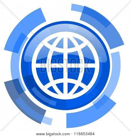 earth blue glossy circle modern web icon