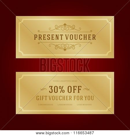 Gift Voucher Template Design and Gift Box vector illustration. Voucher Vector, Voucher Template, Gift Card, Coupon Template, Gift Certificate, Vector Ornament.